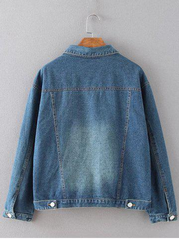 New Flap Pockets Frayed Ripped Jean Jacket - XL BLUE Mobile