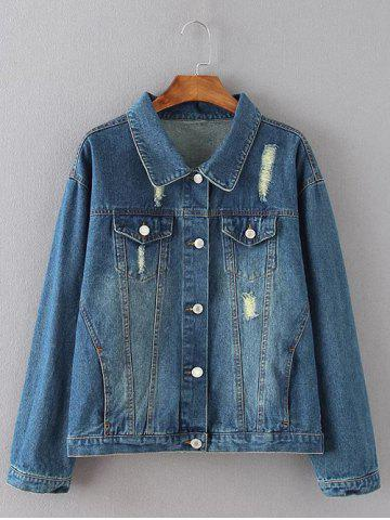 Affordable Flap Pockets Frayed Ripped Jean Jacket - XL BLUE Mobile