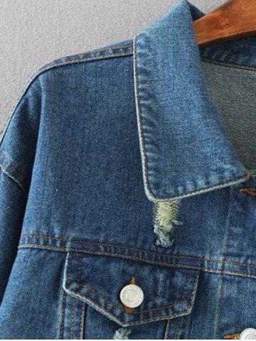 Trendy Flap Pockets Frayed Ripped Jean Jacket - XL BLUE Mobile