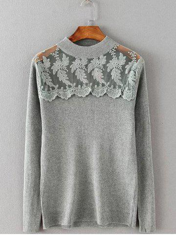Outfits Lace Spliced Stretchy Knitwear GRAY 4XL