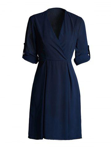 Buy Hemming Sleeves Tied Belt Surplice Dress PURPLISH BLUE 3XL