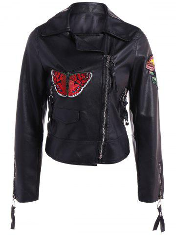 Best Embroidered Zippers PU Leather Jacket