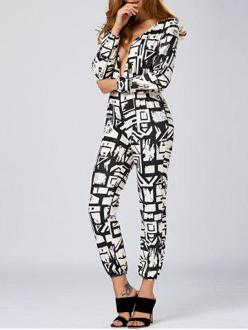 Outfits Plunging Neck Geometric Print Jumpsuit