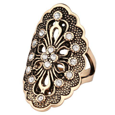 Trendy Hollowe Out Rhinestone Flower Ring - 18 GOLDEN Mobile
