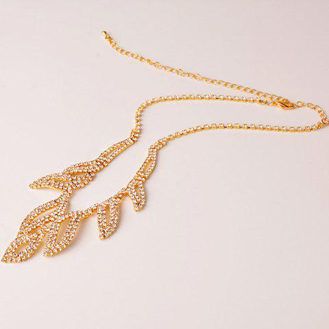 Trendy Rhinestone Hollowed Leaf Jewelry Set - GOLDEN  Mobile
