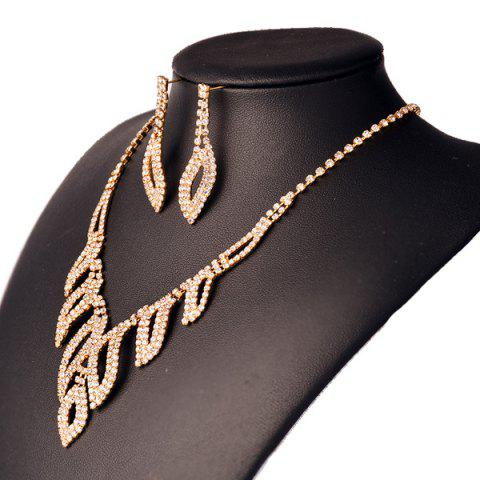 Latest Rhinestone Hollowed Leaf Jewelry Set - GOLDEN  Mobile