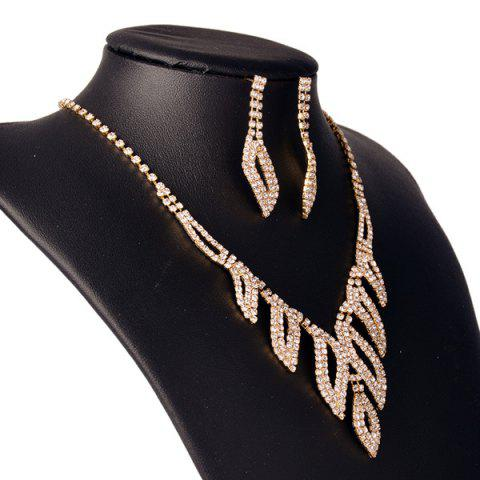 Chic Rhinestone Hollowed Leaf Jewelry Set - GOLDEN  Mobile