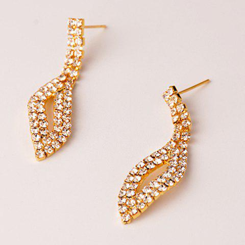 Shop Rhinestone Hollowed Leaf Jewelry Set - GOLDEN  Mobile