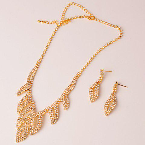 New Rhinestone Hollowed Leaf Jewelry Set - GOLDEN  Mobile