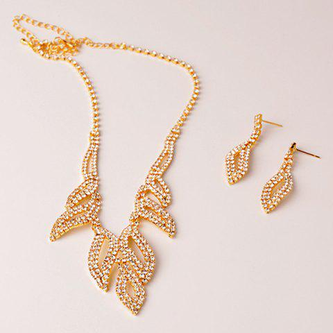 Affordable Rhinestone Hollowed Leaf Jewelry Set - GOLDEN  Mobile