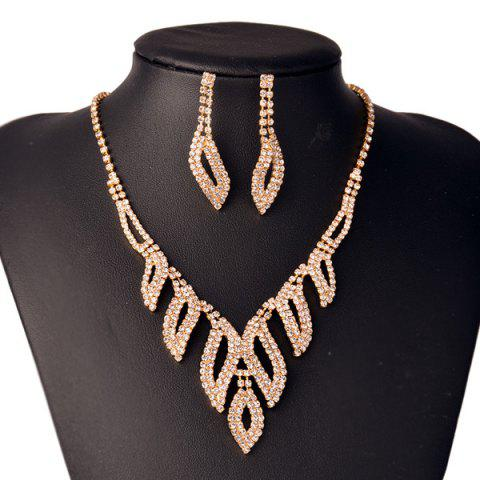 Unique Rhinestone Hollowed Leaf Jewelry Set - GOLDEN  Mobile