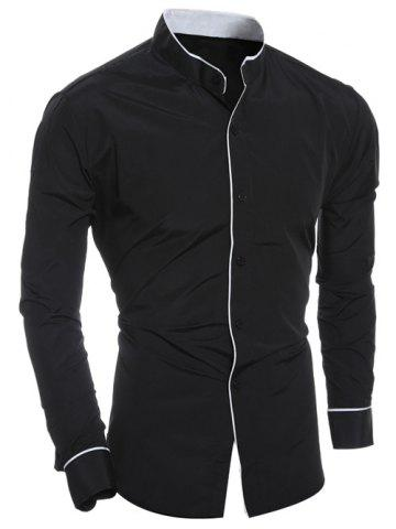 Edging Design Long Sleeve Grandad Chinese Collar Shirt - Black - Xl