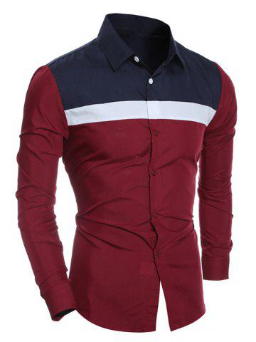 Hot Color Block Splicing Turn-Down Collar Shirt WINE RED 2XL