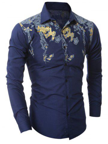 Fashion Golden Floral Pattern Turn-Down Collar Shirt