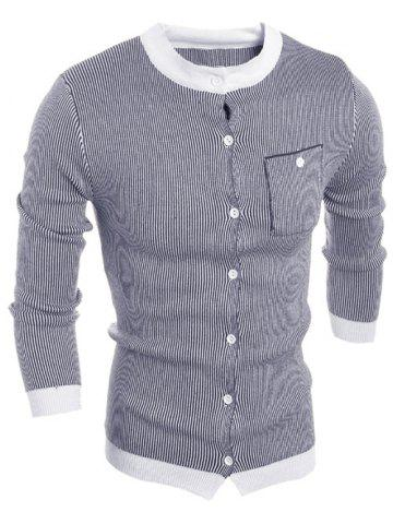 Outfit Crew Neck Vertical Stripe Single-Breasted Cardigan