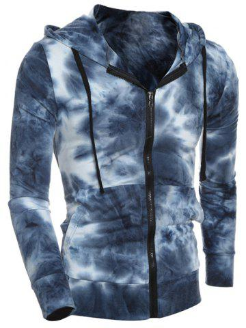 Unique Hooded Ombre Bandhnu Zip-Up Hoodie DEEP BLUE 2XL