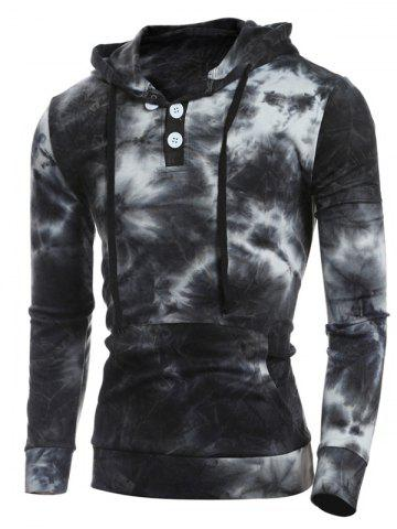 Best Hooded Ombre Bandhnu Button Embellished Hoodie - 2XL BLACK Mobile