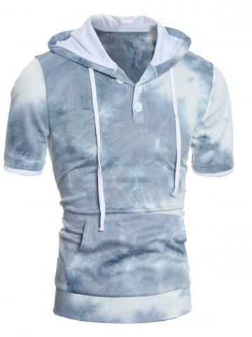 Latest Hooded Ombre Short Sleeve Button Embellished Hoodie BLUE 2XL