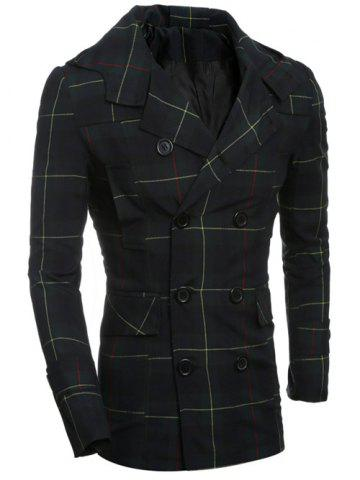 Double Breasted Turndown Collar Checked Coat - Checked - M
