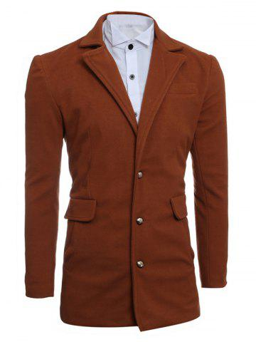 Single Breasted Lapel Slimming Woolen Coat - Camel - M