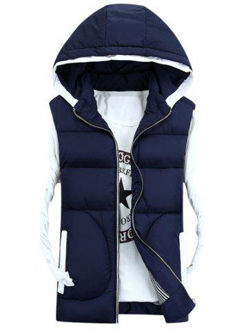 Hooded Thicken Zip-Up Down Waistcoat - Deep Blue - M