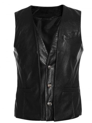 Buy Faux Twinset V-Neck Single-Breasted PU-Leather Wasitcoat