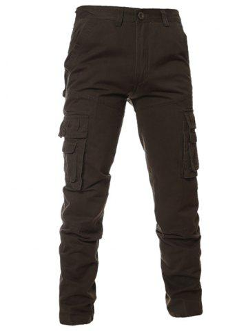 Sale Simple Zipper Fly Pockets Cargo Pants