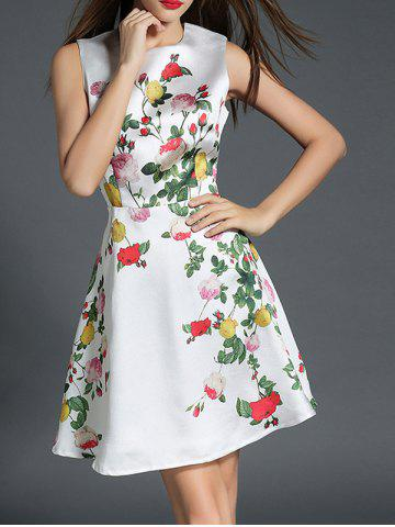 Floral Print Fit and Flare Floral Cocktail Dress - White - Xl