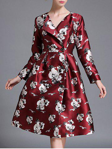 Floral Double-Breasted Trench Coat - Wine Red - Xl
