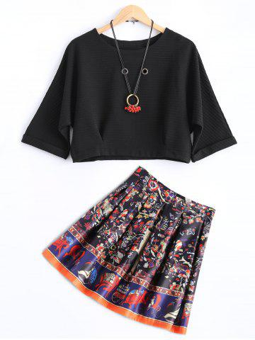 Discount Stripe Ribbed Cropped Blouse and Printed Skirt