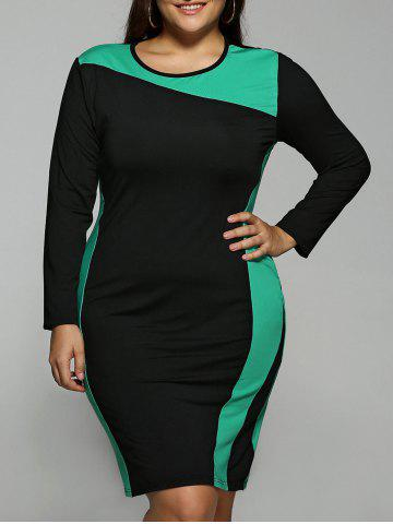 Outfits Color Block Plus Size Long Sleeve Dress GREEN 6XL