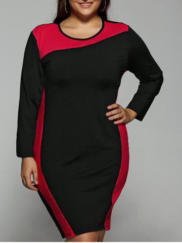 Color Block  Long Sleeve Plus SizeDress - Red - Xl
