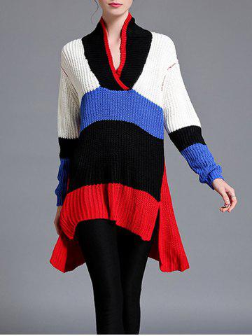 New Color Block High Low Pullover Sweater