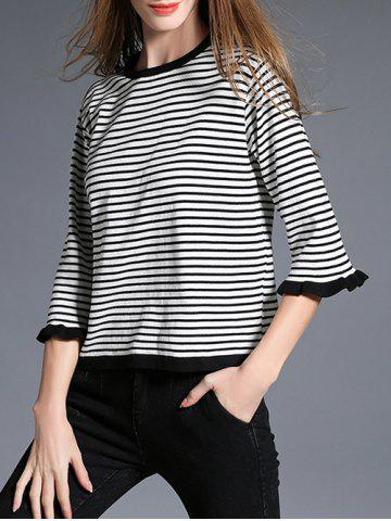 Hot 3/4 Sleeve Striped Pullover Sweater