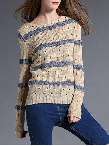 Outfits Hollow Out Striped Pullover Sweater