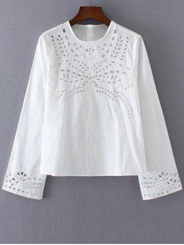 Store Button Back Eyelets Embroidered Top
