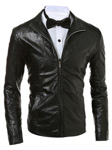 Hot Stand Collar Zip Up Faux Leather Jacket