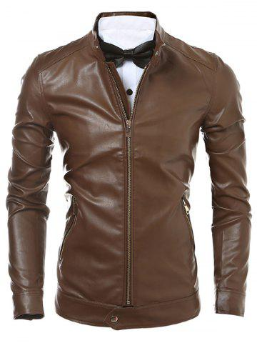 Slim Fit Zip Up Faux Leather Jacket - BROWN 2XL