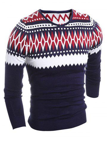 Sale Slim Fit V-Neck Tribal Sweater