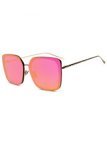 Fashion Hipsters Faux Jade Carve Leg Irregular Square Mirrored Sunglasses