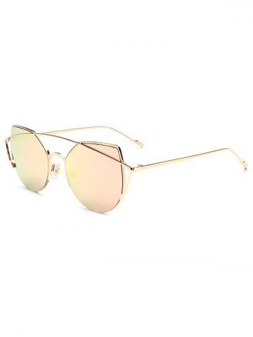 Hipsters Crossbar Irregular Cat Eye Mirrored Sunglasses - Pink