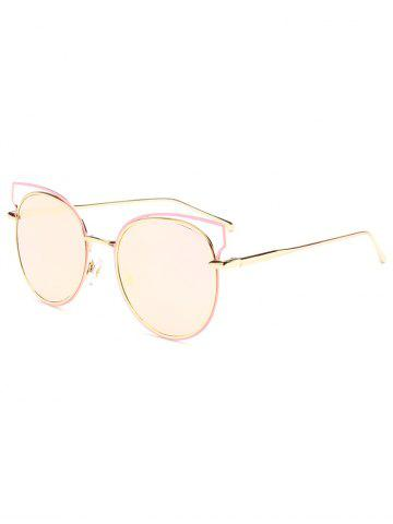 Online Hipsters Cut Out Metal Cat Eye Mirrored Sunglasses PINK