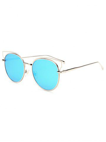Hipsters Cut Out Metal Cat Eye Mirrored Sunglasses - Ice Blue