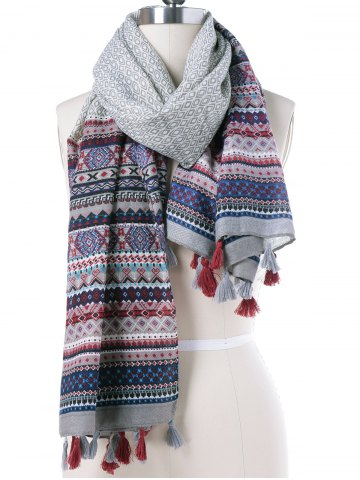 Hot Autumn Tribal Rhombus Print Tassel Pendant Scarf