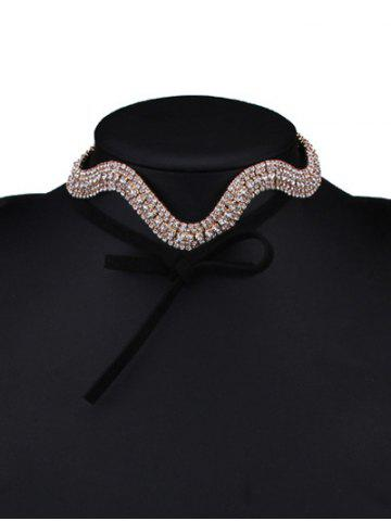 Sale Wavy Tiered Rhinestone Alloy Choker Necklace - CHAMPAGNE  Mobile