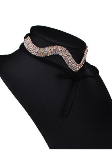 Fancy Wavy Tiered Rhinestone Alloy Choker Necklace - CHAMPAGNE  Mobile