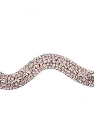 Shop Wavy Tiered Rhinestone Alloy Choker Necklace - CHAMPAGNE  Mobile