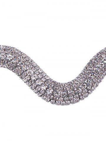 Hot Wavy Tiered Rhinestone Alloy Choker Necklace - SILVER WHITE  Mobile