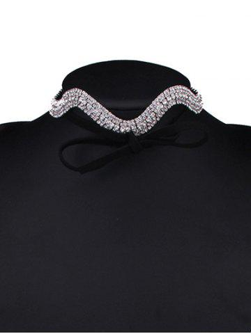 Fancy Wavy Tiered Rhinestone Alloy Choker Necklace - SILVER WHITE  Mobile