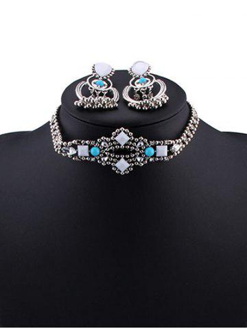 Hot Burnished Faux Stone Beaded Necklace Set TURQUOISE